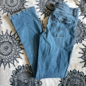 Levi's Mid Rise Bootcut Skinny Blue Jeans